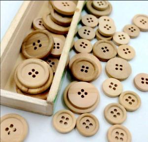 Lots-50-Pcs-DIY-4-Holes-Mixed-Wooden-Buttons-Natural-Round-Sewing-Scrapbooking