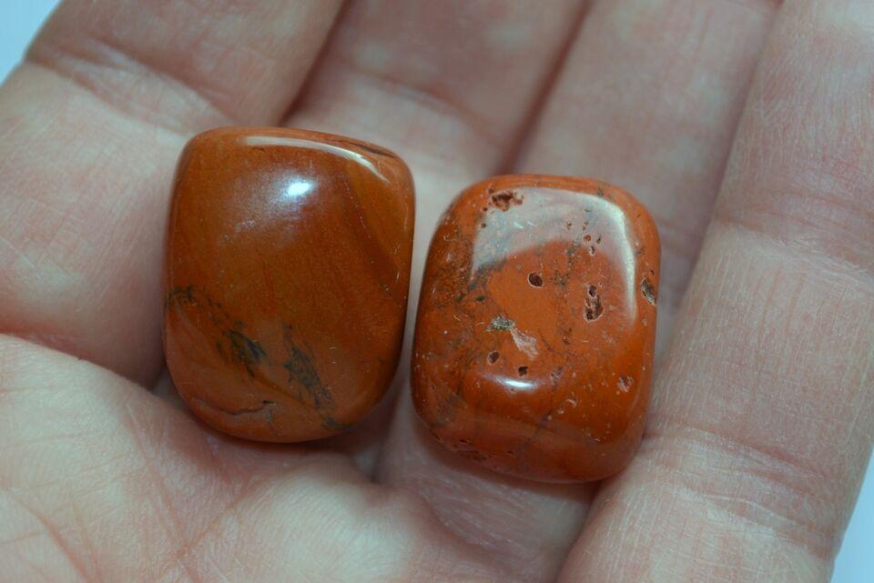 Smykker og sten, 8 stk. rødbrun Jaspis, se foto's