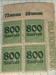 Germany-Reich-Mi-301-Sc-261-1923-Inflation-800-Over-5-Margin-Block-Of-4-MNH