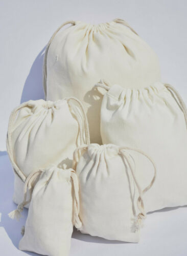Cotton Double Drawstring Muslin Bags 5x7 inches Premium Quality Cotton Bags