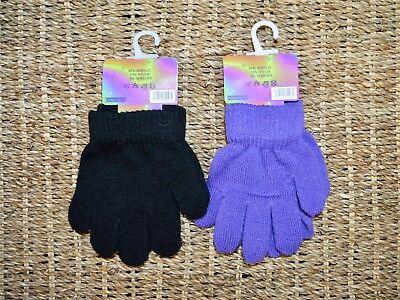 Di Animo Gentile Bambine Set Di Due Nero & Porpora Soft Knit Magic Gloves-mostra Il Titolo Originale I Consumatori Prima