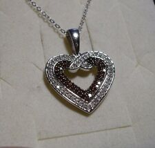 "Red & White Diamond Pendant Necklace 20"" 99 diamonds .75tcw MSRP$1799"