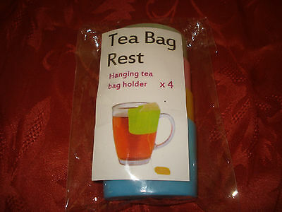 Package of 4 Tea Bag Rests - Hanging Tea Bag Holders on side of cup
