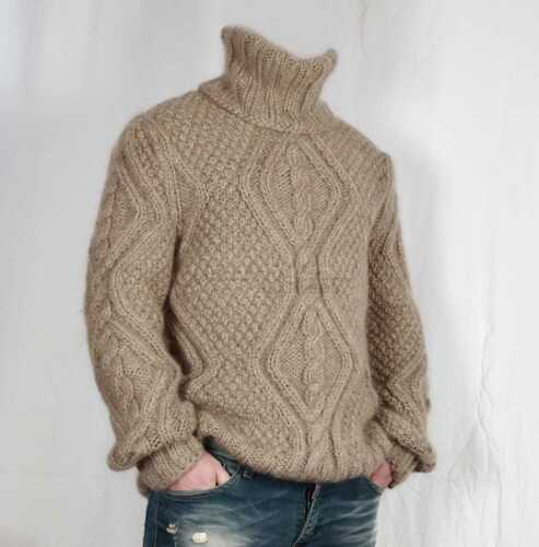 soft jumper Hand knitted 100/% WOOL thick mens woolen sweater with turtleneck