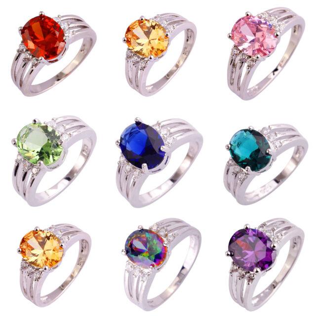 Pink & Rainbow & Green Topaz & Sapphire Quartz Gems Silver Ring Sz 6 7 8 9 10 11