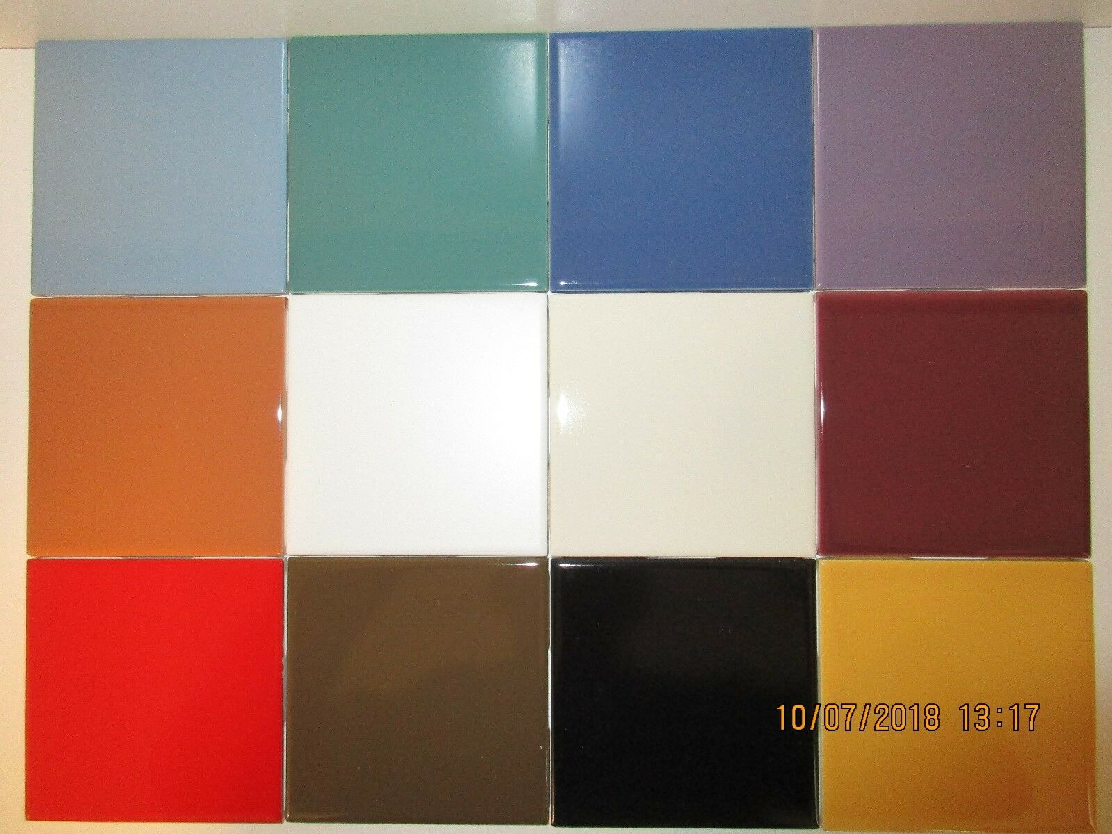 Florida Ceramic Wall Tile 4 3 8  x 4 3 8  x 1 4  - 1 each of 12 Different colors