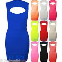 Womens Rib Bandage Sleeveles Top Ladies Pleated Bodycon Stretch Dress 8 10 12 14