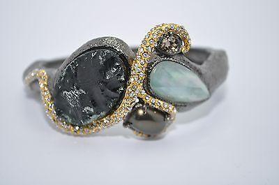 ALEXIS BITTAR Gunmetal Silver / Gold Multi Stone Amethyst Bracelet Bangle