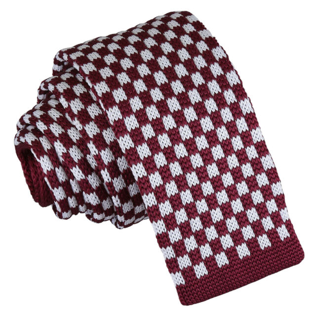 DQT Knit Knitted Thin Stripe Teal with Brown White Casual Mens Skinny Tie