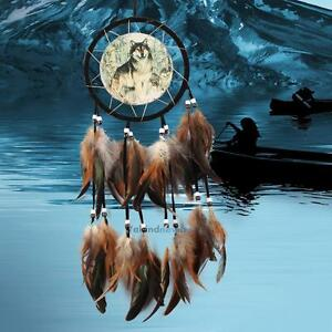 Handmade-Dream-Catcher-With-Feathers-Beads-Wall-Hanging-Decoration-Ornament-Wolf