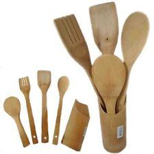 5PZ Bambù Legno Utensil Set Cottura Cucina strumenti titolare Spoon Turner Cutlery