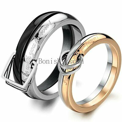 """"""" I want to be with you forever """" Two-tone Stainless Steel Couples Promise Ring"""