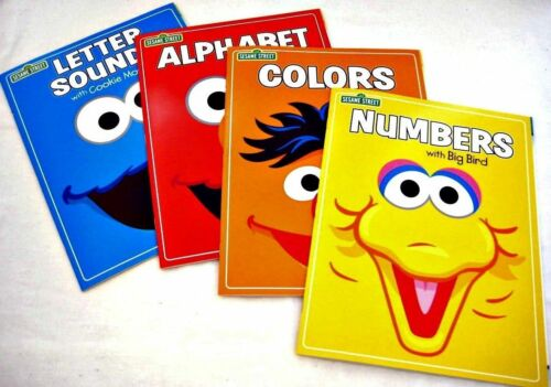 ALPHABET,COLORS SOUNDS LETTER WORKBOOKS Set-4 NEW! NUMBERS 3  SESAME STREET