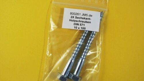 verzinkt Schlüsselschrauben 2X M10x100 Sechskant Holzschrauben DIN 571 galv