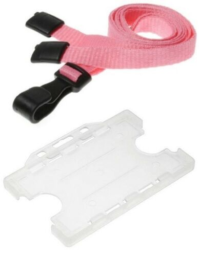 Safety Breakaway with Dual Double Sided Card Holder Plain Pink J Clip Lanyard