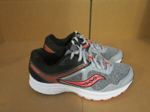 WOMENS SAUCONY GRID COHESION 10 GRAY WHITE CORAL RUNNING SHOES SIZE 7.5M A588