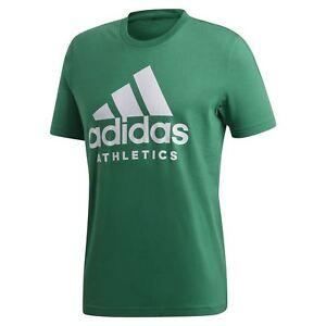Dettagli su Adidas Essentials UOMO Sport Identità T Shirt Verde Maglietta Estivo Girocollo