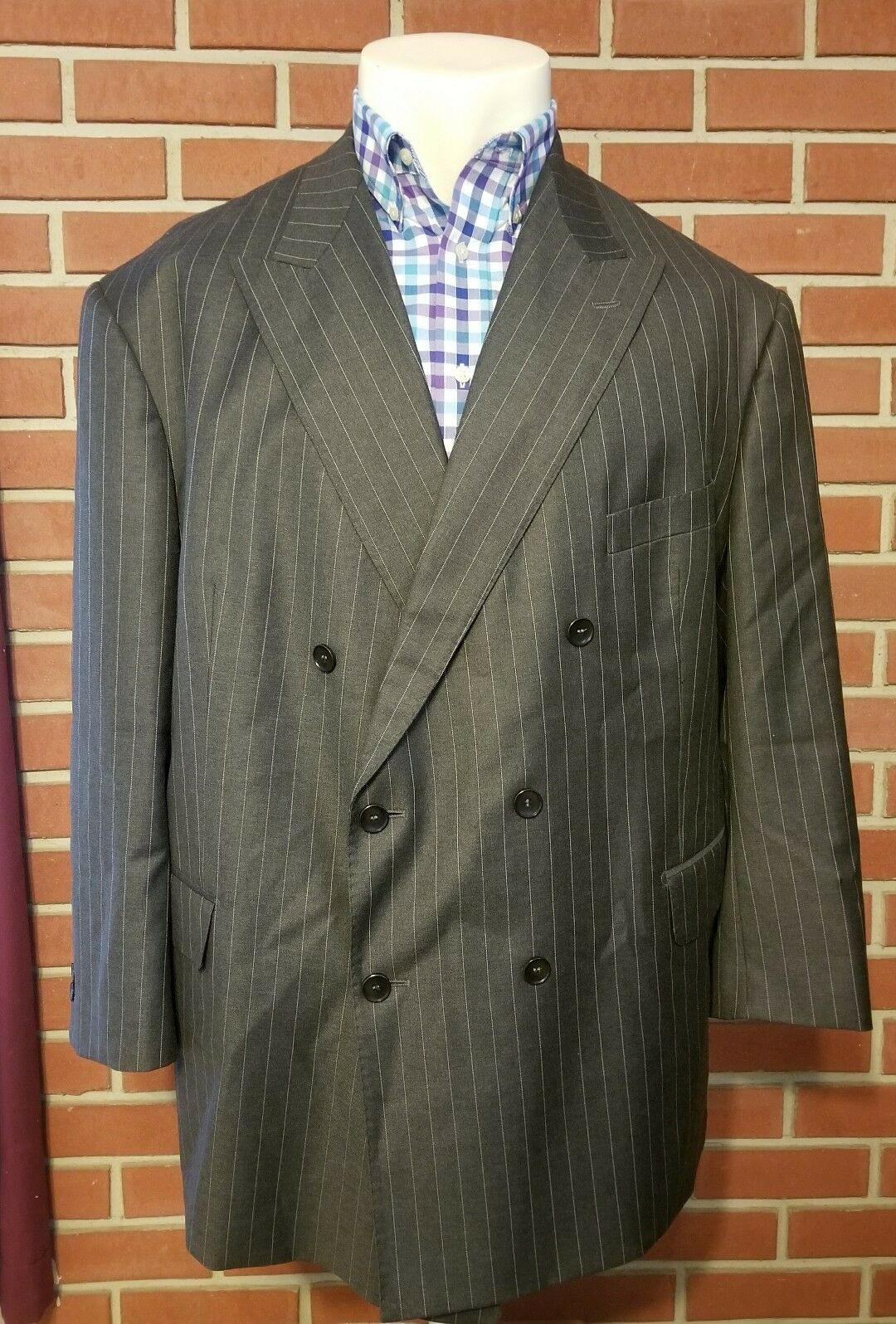 Ing. Lgold Piana Double Breasted Pinstripe Mens Blazer Four Seasons 130s Wool 56R