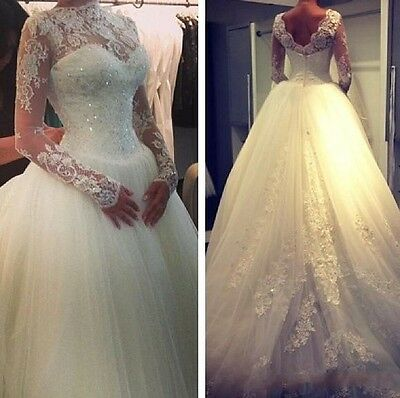A Line White Ivory Custom Wedding Bridal Dress Gown Size 4 6 8 10 12 14 16 18 ++