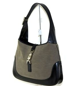 218b9901200b Image is loading Authentic-GUCCI-Brown-Canvas-amp-Leather-Jackie-Hobo-