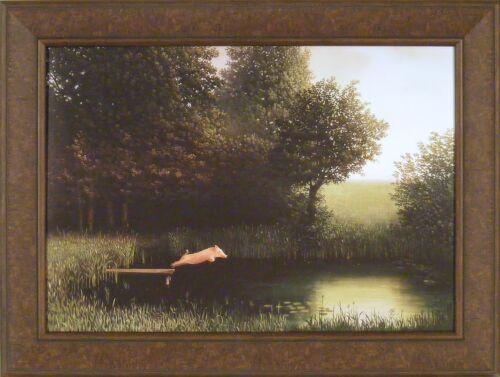 DIVING PIG by Michael Sowa 25x33 Kohler/'s When Pigs Fly Lake Dock FRAMED PRINT