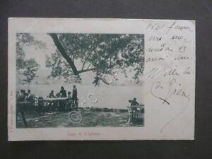 Cartolina-Illustrata-Lago-di-Avigliana-Zurigo-Viaggiata-1900