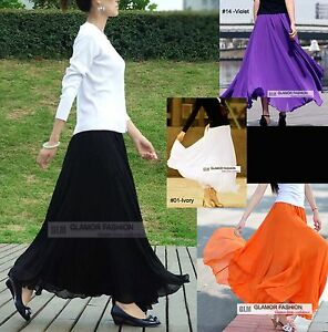 NEW-Full-Circle-Chiffon-Skirt-35-034-90cm-Length-Long-Skirt-25-colors-XS-3XL