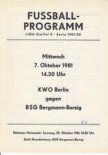 DDR-Liga 81/82 BSG Bergmann Borsig Berlin - KWO Berlin 07.10.1981