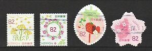 JAPAN-2017-SPRING-GREETINGS-FLOWERS-82-COMP-SET-OF-4-STAMPS-IN-FINE-USED