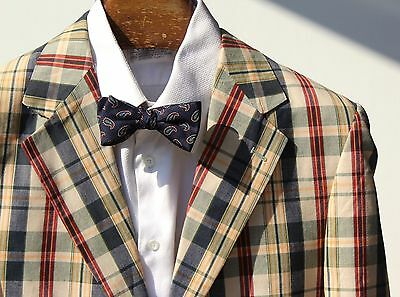 Marconi 40R Ivory, Yellow, Blue, & Red Check 2-Button Cotton Blazer / Sport Coat
