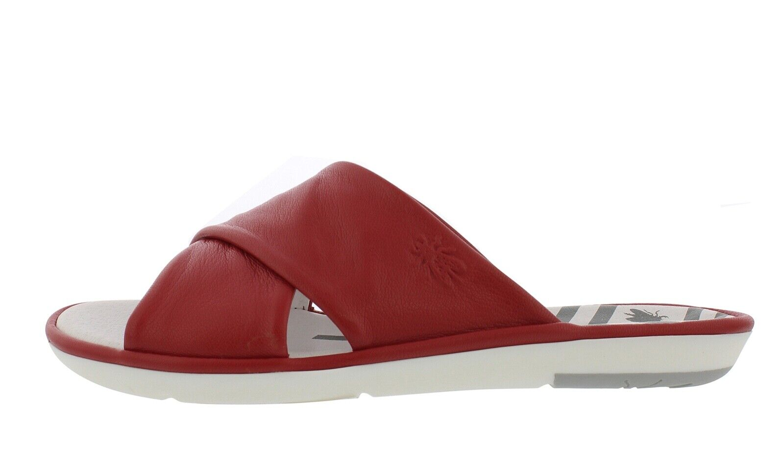 Fly London NEW Muda lipstick red genuine leather flat slider sandals sizes 3-9