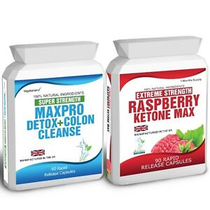 90-Raspberry-Ketone-Plus-60-Colon-Cleanse-Weight-Loss-Slimming-Diet-Pills-Max