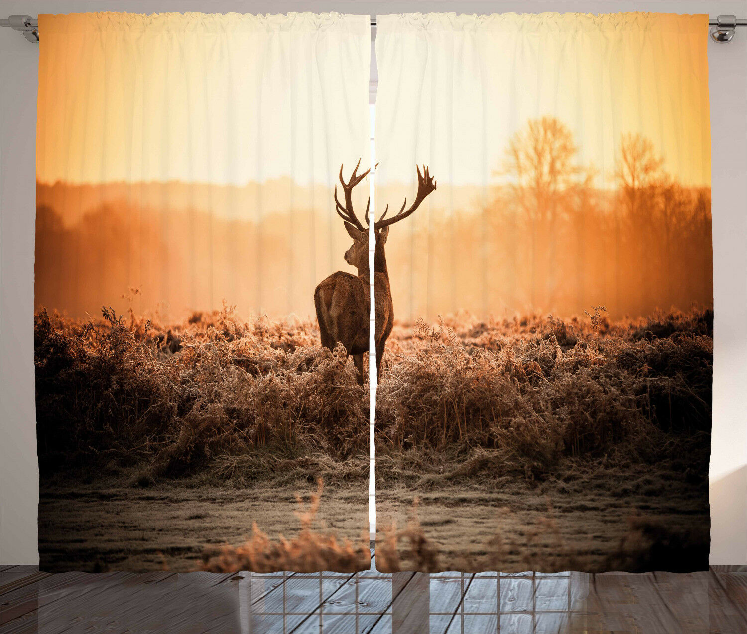 Hunting Curtains Deer Morning Sun Window Drapes 2 Panel Set 108x63 Inches