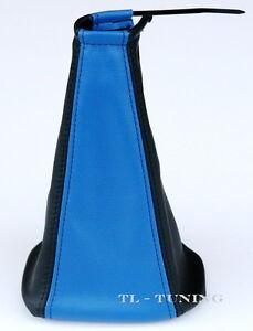 Schaltsack-Schaltmanschette-SEAT-ALHAMBRA-Bj-96-00-Echt-Leder-Blau-Schwarz