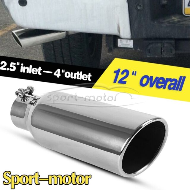 """Exhaust Tip Tail Pipe S//S 12/"""" inch Long 4/"""" Inlet 5/"""" Outlet Rolled Edge Angle Cut"""