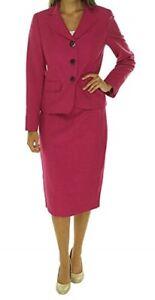 """Evan Picone Skirt Suit Sz 8  Deep Rose Pink """"Park Avenue"""" Career Business Suit"""