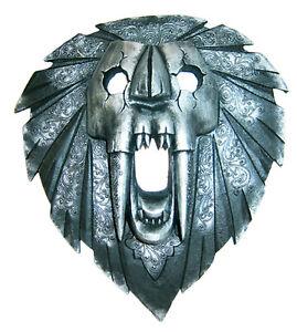 34-cm-Alto-Argento-Maschera-da-Parete-Leone-Maschera-Grande-Fang-Metallico-a
