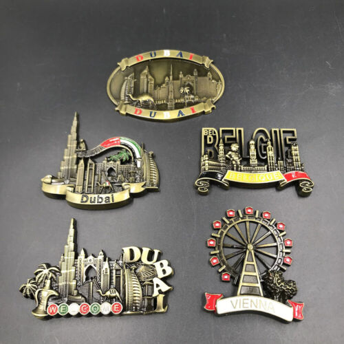 3D Metal Fridge Magnets Refrigerator Decor Dubai Belgium Austria Vienna Souvenir