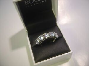 INCREDIBLE-SOLID-SILVER-RING-HIGH-GRADED-CUBICS-5-LARGE-STONES-STUNNING-SIZE-O