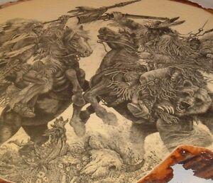 Vtg Southwestern Buckskin Cowboy Hunter With Bear decoupage print on wood slice