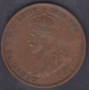 CB1448-Australia-1925-Penny-good-VF-showing-6-pearls-and-part-centre-diamond