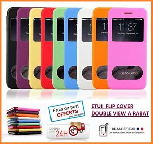 ETUI-HOUSSE-FLIP-COVER-DOUBLE-VIEW-LUXE-NEUF-pour-IPHONE-5-5S-SE-6-6S-6-6S
