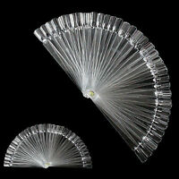 50 x POLISH NAIL ART TIPS CLEAR FALSE POP COLOUR STICKS DISPLAY FAN PRACTICE KIT