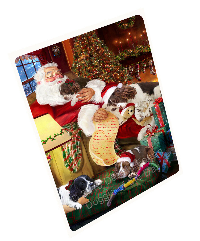English Springer Spaniel Dog Sleeping with Santa Throw Sherpa Fleece Blanket NWT
