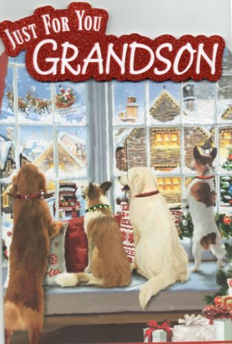 Just For You Grandson Christmas Cute Luxury Medium Sized Greetings Card
