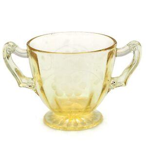 Circa-1930-Standard-Glass-Co-Yellow-Depression-Glass-Grape-Pattern-Sugar-Bowl
