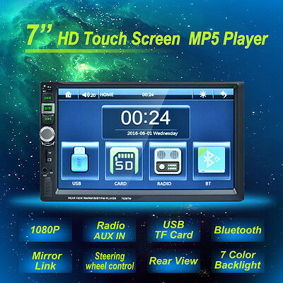 """7"""" Double Din Touchscreen In Dash Car 1080P Stereo Radio Mirror Link Mp5 Player"""