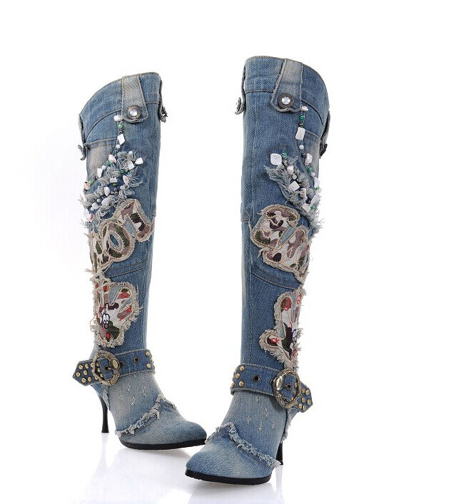 Club rodilla SEXY la rodilla Club botas altas Zapatos Taco aguja Zapatos de lona con Remaches Tiras Hebilla Caballero Denim Talla 28701f