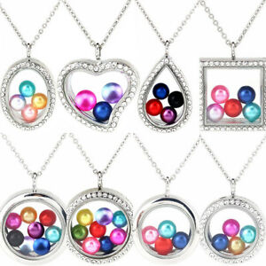 Beads-Cage-Glass-Locket-Pearl-Cage-Floating-Pendant-Necklace-Charms-20-inch