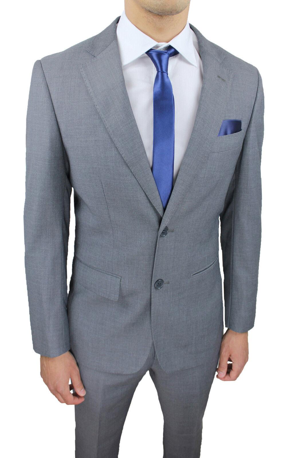 8679df6d74b ABITO COMPLETO men grey SLIM ELEGANTE CERIMONIA da 44 a 56 FIT SARTORIALE  nfpwcp6550-Suits   Tailoring